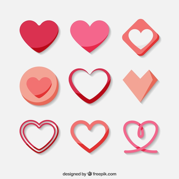 Collection of decorative hearts Free Vector