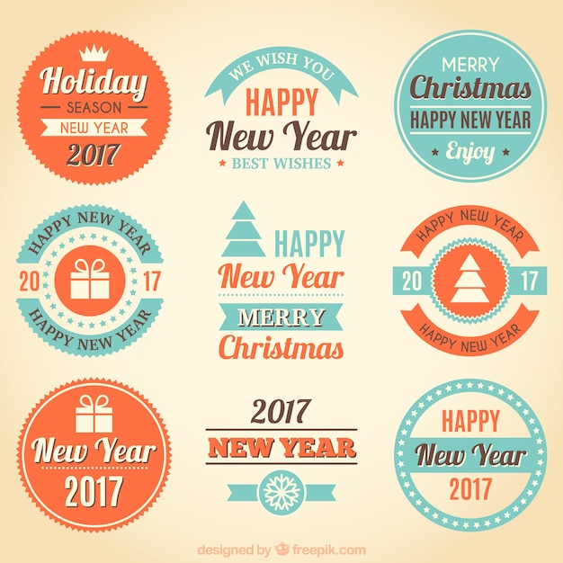 Collection of decorative new year badges in vintage style