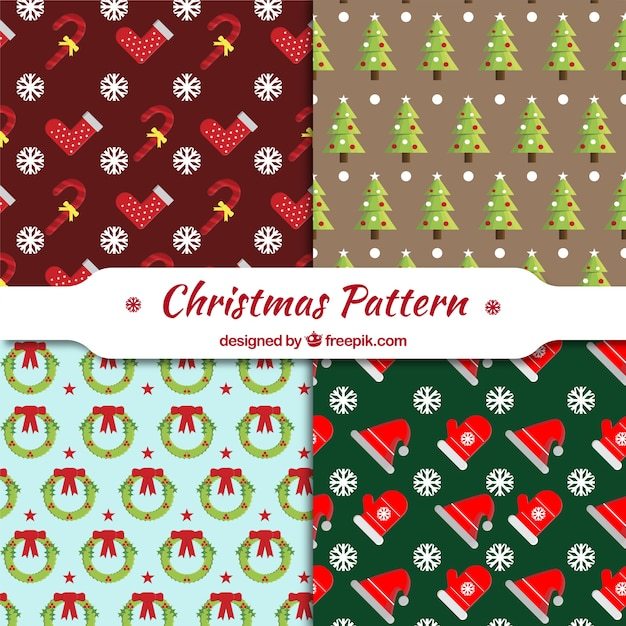 Collection of decorative patterns with\ christmas objects