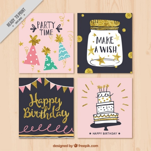Collection of decorative retro birthday card Vector – Birthday Card Collection