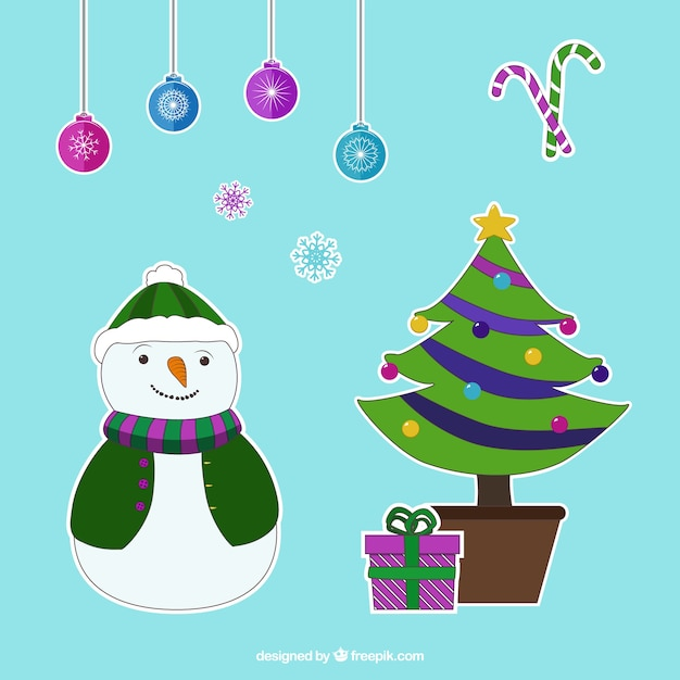 Collection of decorative stickers for christmas Free Vector