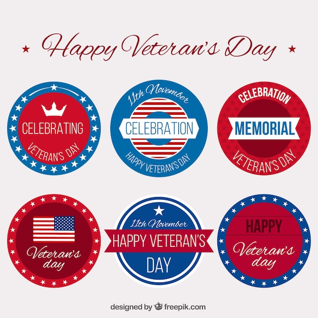 Collection of decorative stickers for veterans\ day