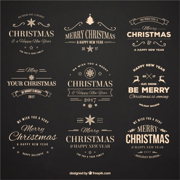 Collection of decorative vintage christmas stickers Free Vector