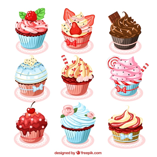Collection of delicious cupcakes Free Vector