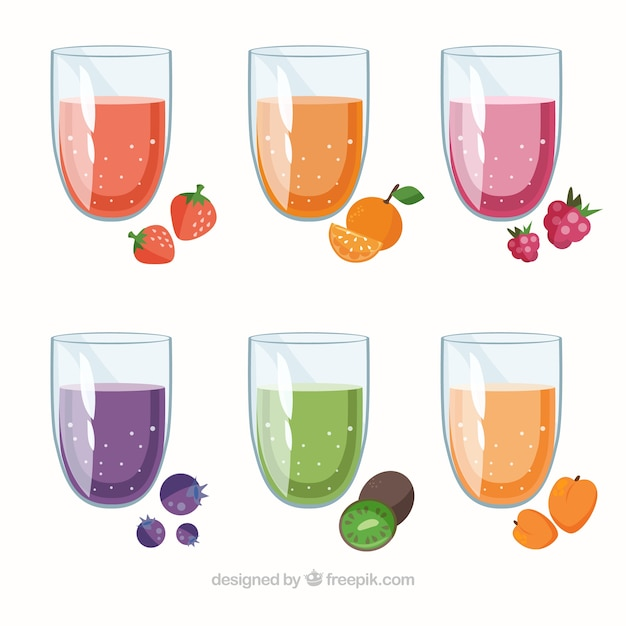 Collection of delicious fruit juices