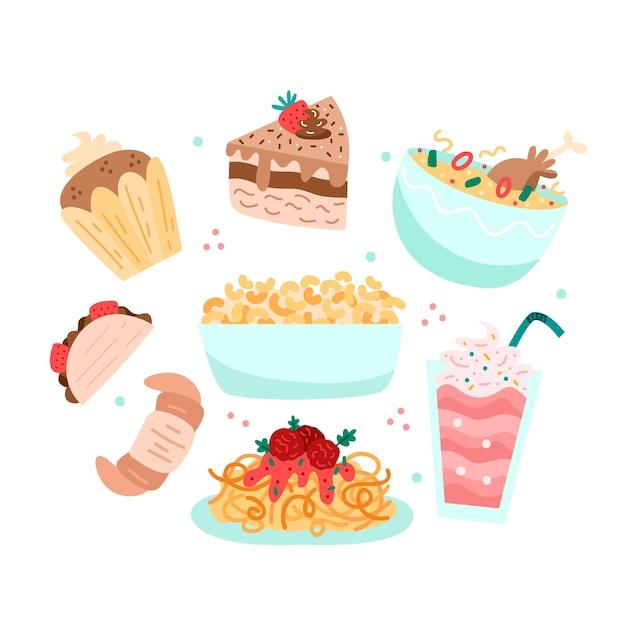 Коллекция вкусных сладких продуктов комфорта Бесплатные векторы