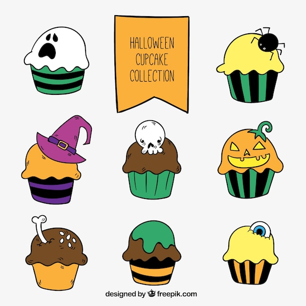 Collection of desserts with halloween\ details