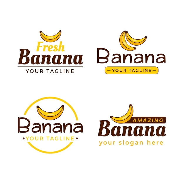 さまざまなバナナのロゴのコレクション 無料ベクター