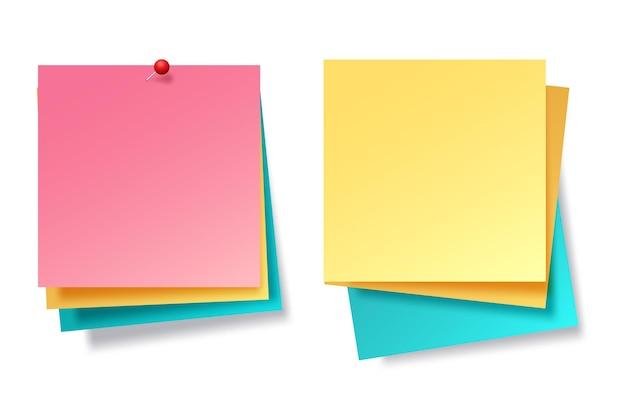 Сборник разноцветных листов для заметок Бесплатные векторы