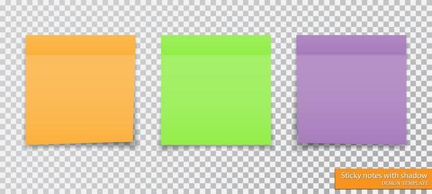 Коллекция разноцветных записок с тенью. Premium векторы