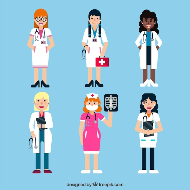 Collection of different female doctors with\ different medical tools