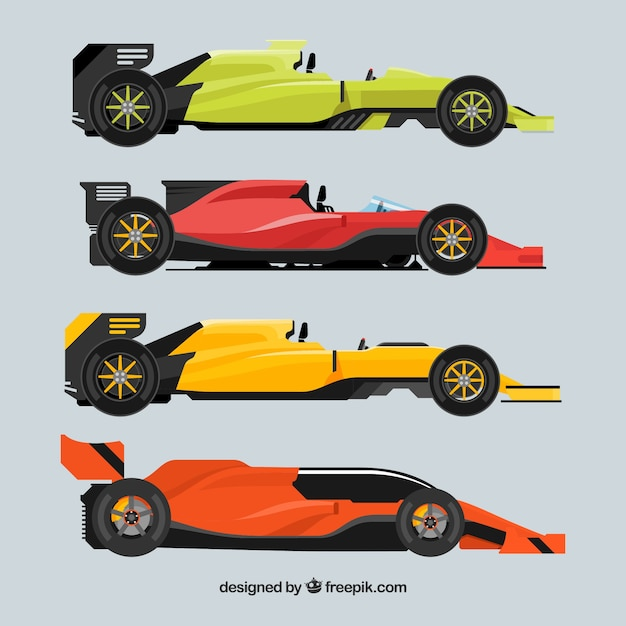 Collection of different formula 1 cars