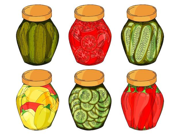 自家製のコショウ、きゅうり、トマトが入ったさまざまなガラス瓶のコレクション。 Premiumベクター