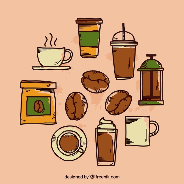 Collection of different hand drawn coffee elements Free Vector