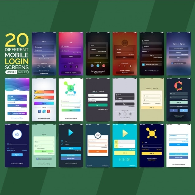 Collection of different mobile login screens Premium Vector