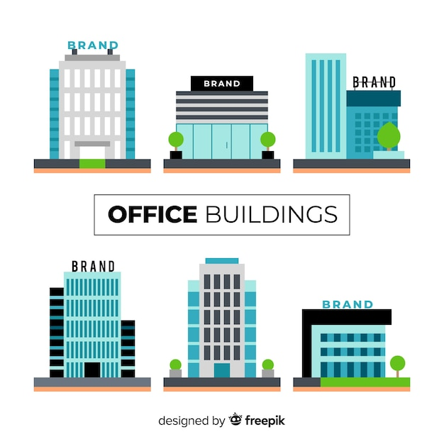 Collection of different office buildings Free Vector