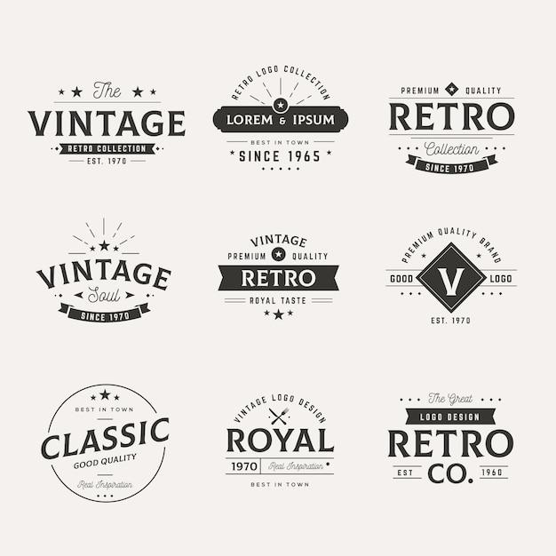 Коллекция различных ретро логотипов Premium векторы