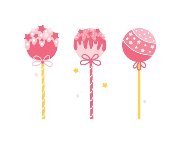 分離されたさまざまな丸いピンクのロリポップのコレクション。ケーキが振りかけるとスティックに飛び出します。漫画風のキャンディー。 Premiumベクター