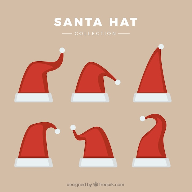 Collection of different santa claus hats Premium Vector