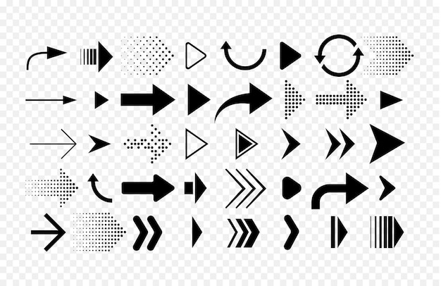 異なる形状の矢印のコレクション。白い背景で隔離の矢印アイコンのセットです。 Premiumベクター