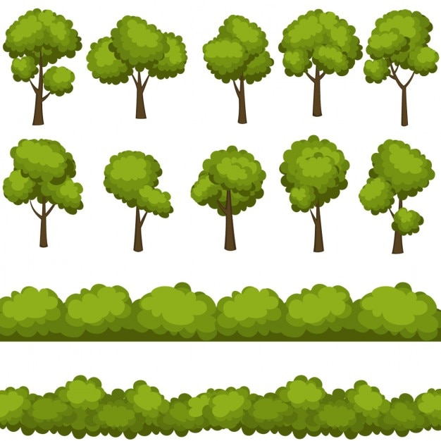 Collection of different trees Free Vector