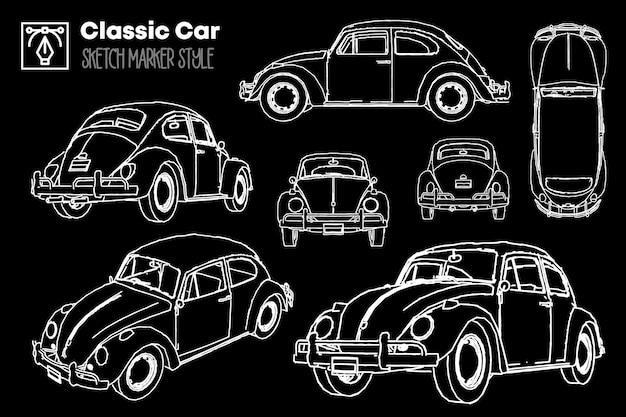 Коллекция различных видов силуэтов классических автомобилей. рисунки с эффектом маркера. Premium векторы