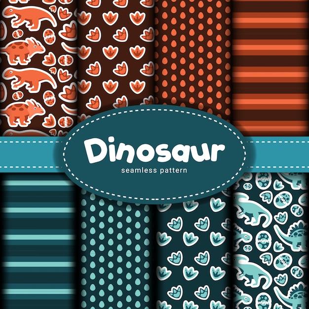 恐竜のシームレスパターンのコレクション Premiumベクター