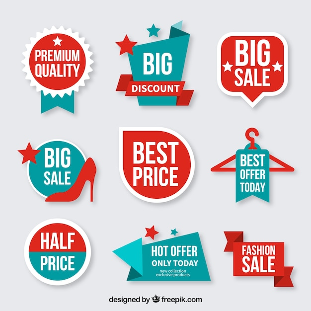 Collection of discount badges Premium Vector