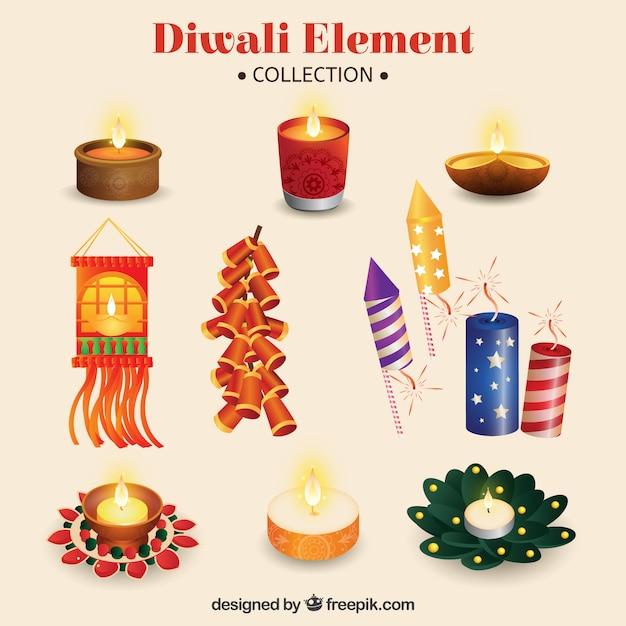 Collection of diwali celebration element