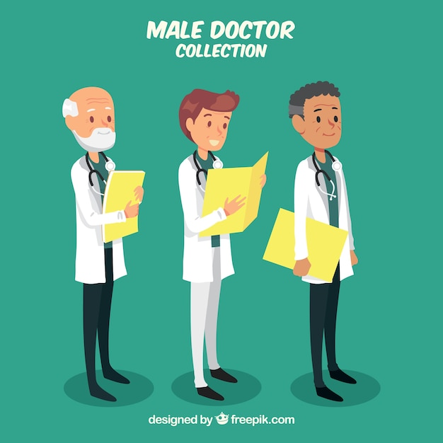 Collection of doctor with folder