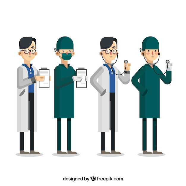Collection of doctors with clipboard and\ stethoscope