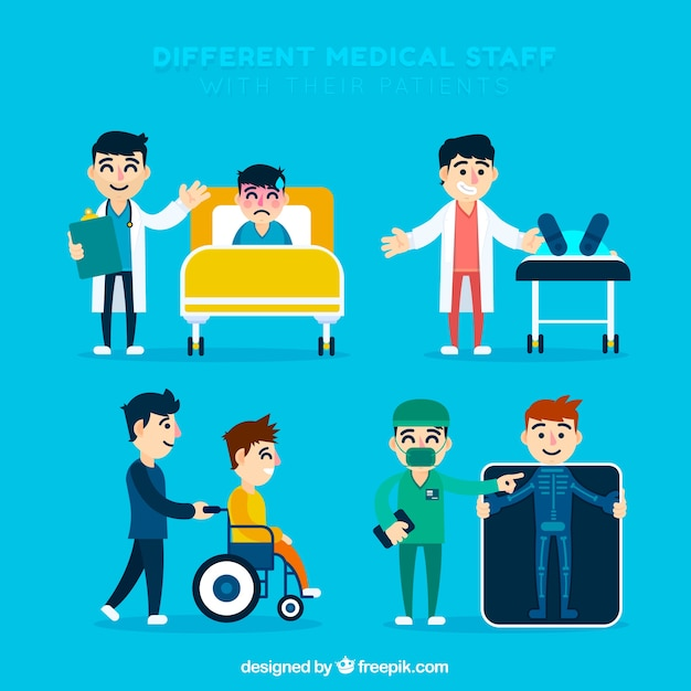 Collection of doctors with patients in flat\ design