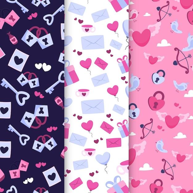 그려진 된 발렌타인 패턴 모음 무료 벡터