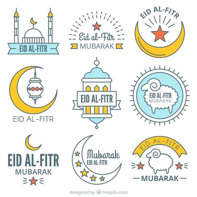 Eid Mubarak Stickers: Collection Of Eid Al Fitr Stickers In Linear Style Vector