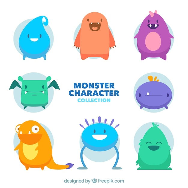 Collection of eight monsters Free Vector