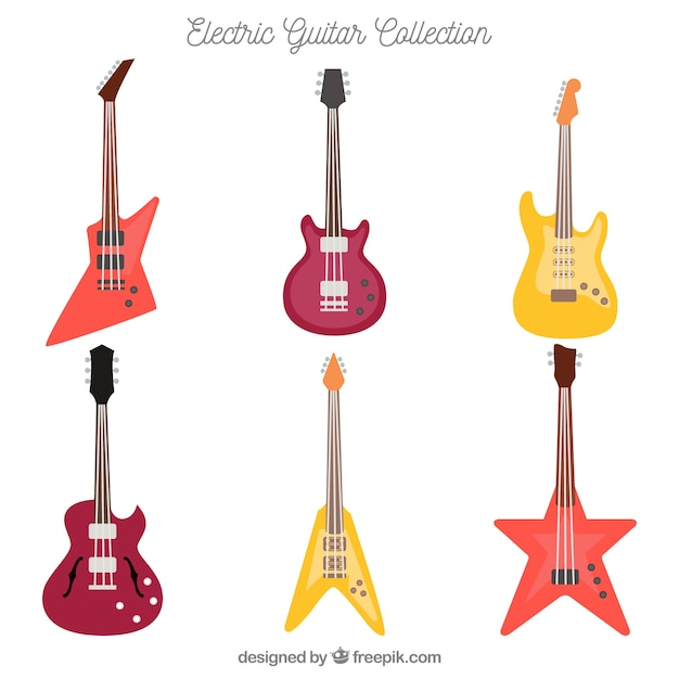 Collection of electric guitars Vector | Free Download