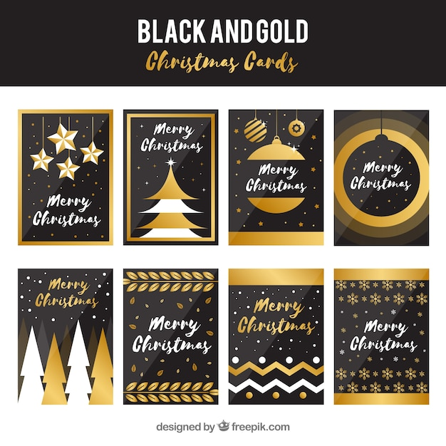 Collection of elegant golden christmas cards