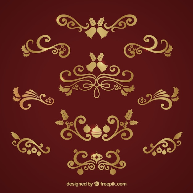 collection of elegant golden christmas ornaments free vector - Elegant Christmas Ornaments