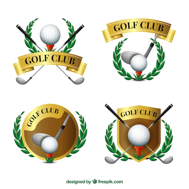 Collection of elegant golden golf labels