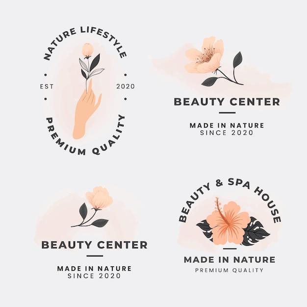 エレガントな自然化粧品ロゴのコレクション 無料ベクター