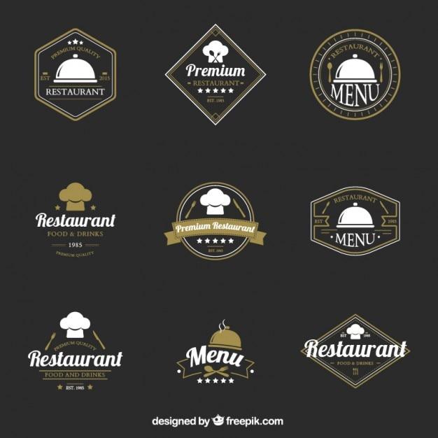 collection of elegant restaurant vintage logotype vector