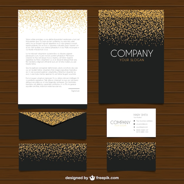 collection of elegant stationery with glitter vector free download