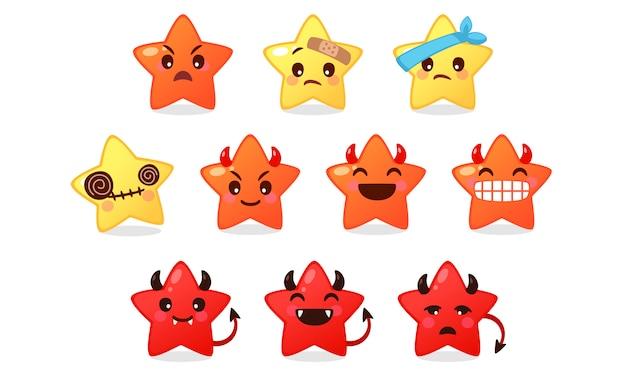 Коллекция смайликов иконы милого звездного мультфильма на белом Premium векторы