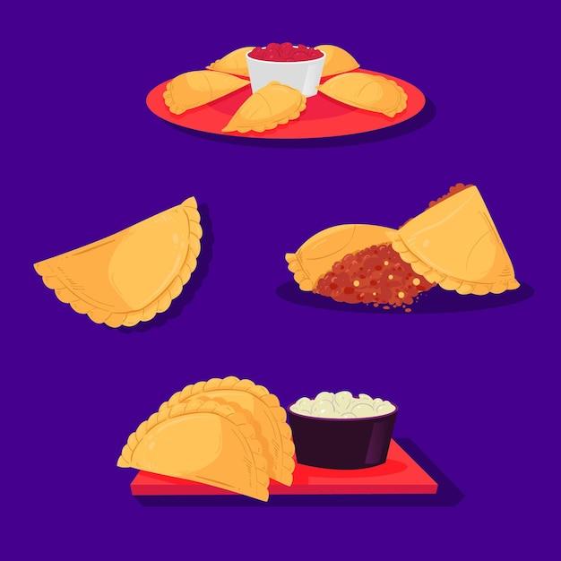 Коллекция закусок и соуса эмпанада Бесплатные векторы