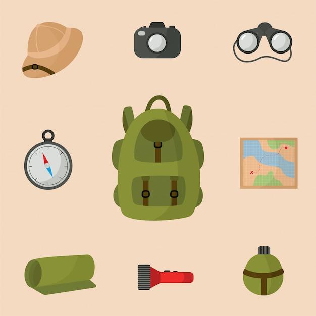 サファリ旅行のための機器のコレクション。観光バックパック。 Premiumベクター