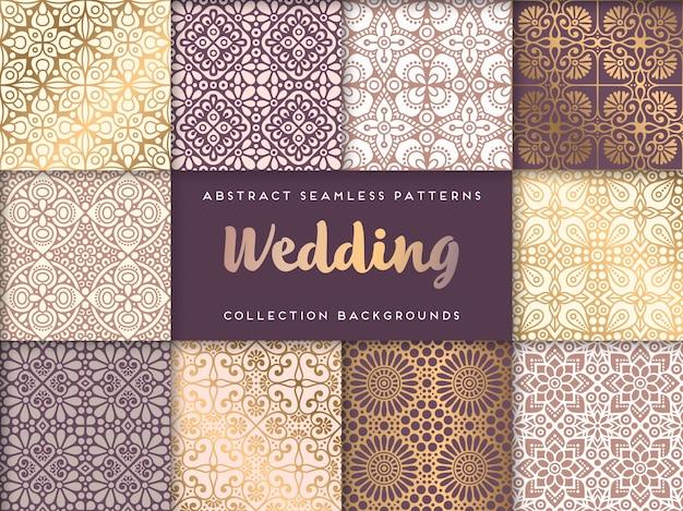 エスニック花の結婚式のシームレスパターン抽象的な装飾的なパターン 無料ベクター