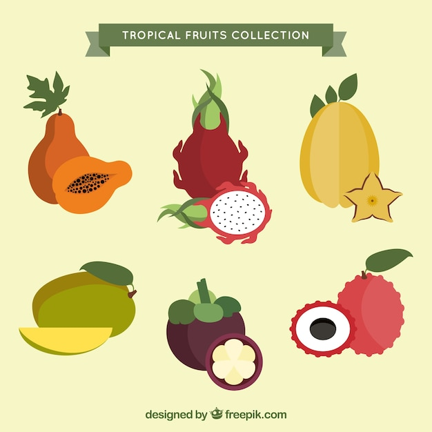 Collection of exotic fruits in flat\ design