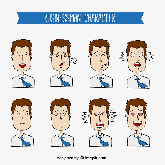 Collection of expressive businessman\ character