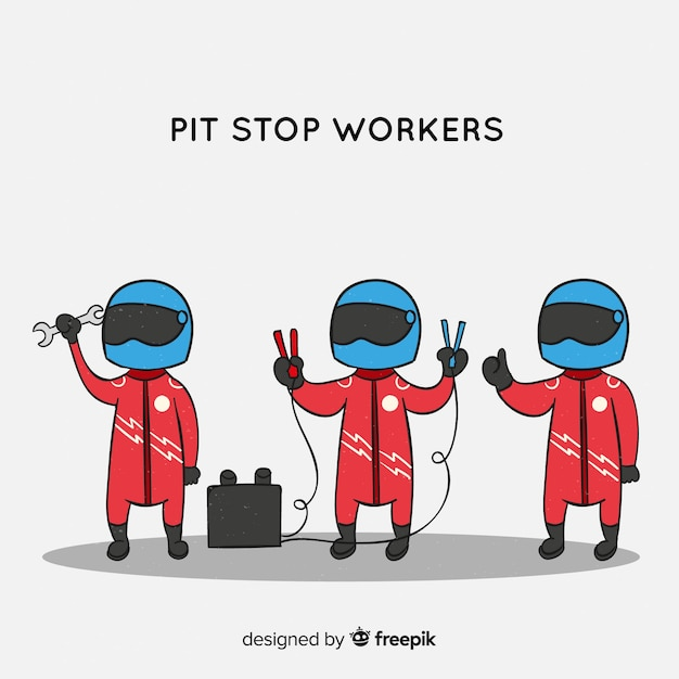 Collection of f1 pit stop workers