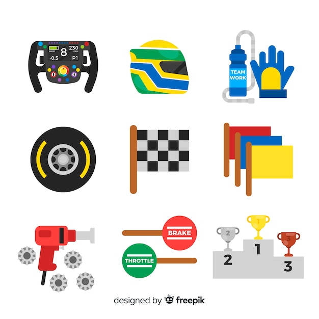 Collection of f1 racing elements